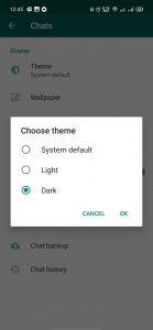 Cara aktifkan dark mode WhatsApp Android
